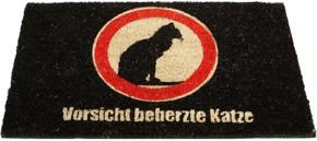Fußmatte warnt Besucher vor Hund und Katze