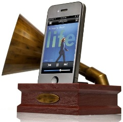 iPhone Grammophon als akustischer Verstärker im Retro-Style