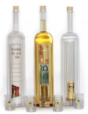 Geldgeschenke-Flasche mit Hohlraum und individueller Gravur