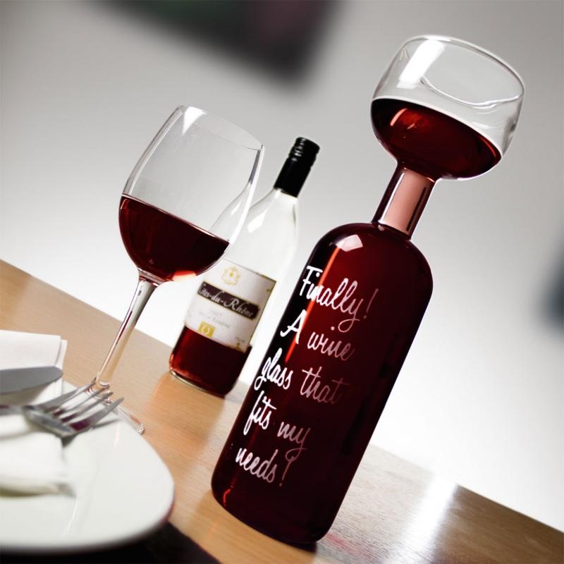 Das verrückte Weinflaschen Glas